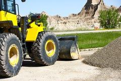 Bulldozer på arbete Arkivbild