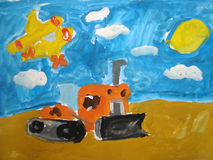 Bulldozer painted by child Royalty Free Stock Image