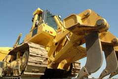 Bulldozer perspective in construction site Stock Images