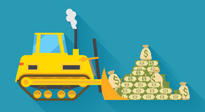 Bulldozer pilling money Stock Photography