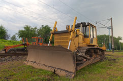 Bulldozer on railway Stock Photography