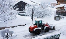 Bulldozer removing snow Royalty Free Stock Photography