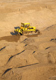 A bulldozer at a reservoir construction sit Royalty Free Stock Photo