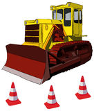 Bulldozer and road cones, vector illustration Royalty Free Stock Photos
