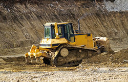 Bulldozer at the road construction Royalty Free Stock Images