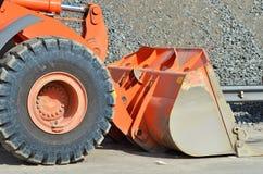 Bulldozer on road construction site Stock Photo
