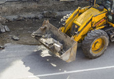 Bulldozer. Roadworks Stock Images