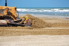 Bulldozer in the sand Stock Photography