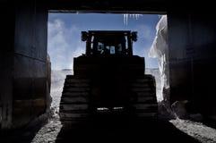 Bulldozer in Silhouet Royalty-vrije Stock Foto's