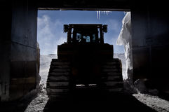 Bulldozer in Silhouette Royalty Free Stock Photos