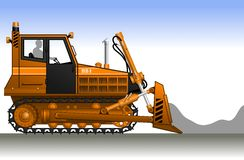 Bulldozer. Silhouette of a worker in a orange bulldozer. Construction machinery. Vector illustration Royalty Free Stock Photos