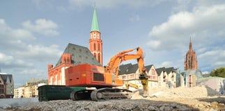 Bulldozer on site in Frankfurt city Royalty Free Stock Image
