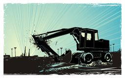 Bulldozer at sunrise. Vector illustration, bulldozer at sunrise and the city in the distance ,eroded grunge frame background vector illustration