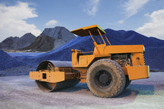 Bulldozer tank road construction machine and sand rock for construction site Royalty Free Stock Image