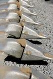 Bulldozer teeth. Abstract view of shovel teeth of bulldozer blade Stock Photo