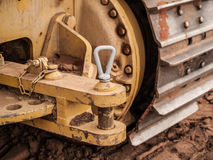 Bulldozer track and tow hitch Royalty Free Stock Photo