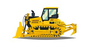 Bulldozer. Tracked vehicles, tractor. Yellow, isolated on white background. Plowman, digger. Vector illustration. stock illustration