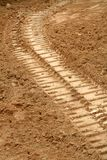 Bulldozer tracks. In the dirt stock photography