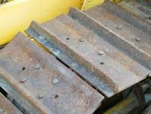 Bulldozer tracks old and rusty royalty free stock photo