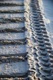 Bulldozer tracks in sand. Leading away Stock Photo