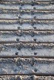 Bulldozer tracks in sand. Leading away Stock Photography