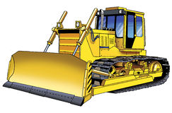 Bulldozer tractor picture. Tracked earthmover mechanism Royalty Free Stock Photos