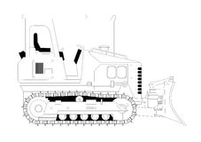 Bulldozer vector illustration. Side view vector illustration of a bulldozer Stock Image