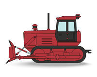 Bulldozer.  Vector illustration. Red caterpillar tractor with a Stock Photo