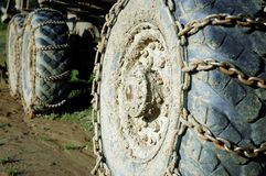 Bulldozer wheel. Bulldozer - closeup to wheels with chain royalty free stock image