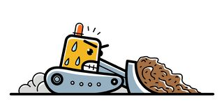 Free Bulldozer With Facial Expression Of Hard Work And Anger Vector Cartoon Style Icon Isolated Royalty Free Stock Photos - 214096358