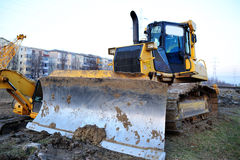 Bulldozer on site Stock Photos