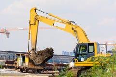 Bulldozer is working royalty free stock photo