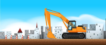 Bulldozer working at construction site Stock Images