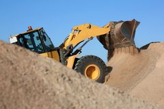 Bulldozer Working with Sand Stock Photography