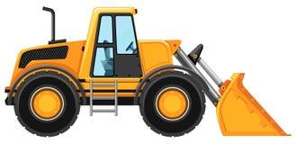 Bulldozer zonder bestuurder op witte achtergrond Stock Foto's