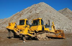 Bulldozers. In open cast mining quarry Stock Photography