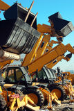Bulldozers. In a contruction site royalty free stock images