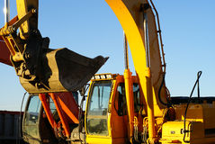 Bulldozers at construction yard Stock Photos