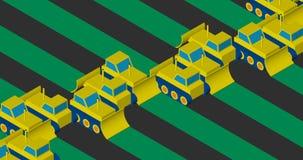 Bulldozers die het gebied ontruimen Vlak isometrisch ontwerp vector illustratie