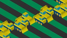Bulldozers die het gebied ontruimen Vlak isometrisch ontwerp royalty-vrije illustratie