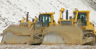 Bulldozers in open pit Royalty Free Stock Photography