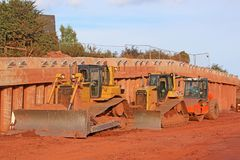 Bulldozers on a construction site Stock Image