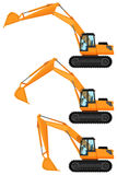 Bulldozers in three positions Royalty Free Stock Photography