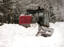 Bulldozers and winter Royalty Free Stock Photography
