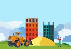 Bulldozertractor op conceptwerf die huizen en zand, platteland construeren, vector illustratie