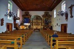 bulle的教会在格律耶尔在南瑞士 免版税库存照片
