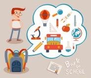 Bulle avec des icônes d'éducation sur Gray Backgrounds Image stock