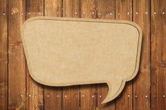 Bulle blanc de la parole sur le bois Photo libre de droits