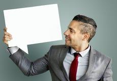 Bulle Co de la parole de l'espace de Communication Connection Copy d'homme d'affaires photographie stock