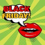 Bulle comique blanche avec le mot de BLACK FRIDAY et lèvres rouges sur le fond vert Carte dans le style d'art de bruit Vecteur illustration de vecteur